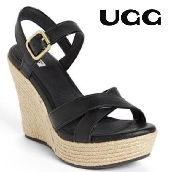 9d5a8e32abe UGG Wedges Espadrilles Black Leather - Size 7 🍀